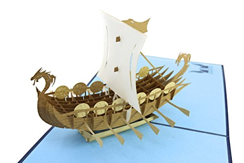 PopLife Norse Viking Ship 3D Pop Up Card for All Occasions - Happy Anniversary Pop Up Father's Day Card, Pop Up Birthday Card for Men, Retirement Card - for Dad, ()