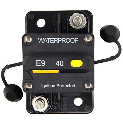 Waterproof 40a Fuse Holder - ZOOKOTO 40 Amp Circuit Breaker, Marine Trolling Motors Boat ATV Manual Power Fuse Rest, Waterproof 12V- 48V DC (40A)