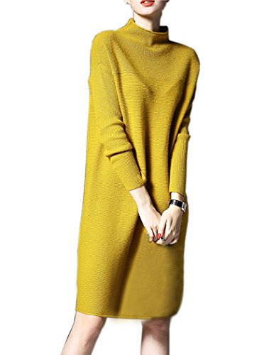 nutexrol-womens-turtleneck-ribbed-long-sleeve-knit-sweater-stretchable-dresses-yellow-small