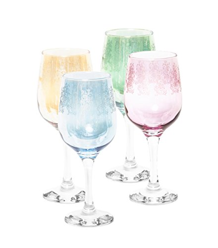 Italian Collection Crystal 15 Oz 'Nicol' Water or Wine Goblet Multi Colored Crystal Glasses, 24K Gold Rim, Vintage Luxury Pattern