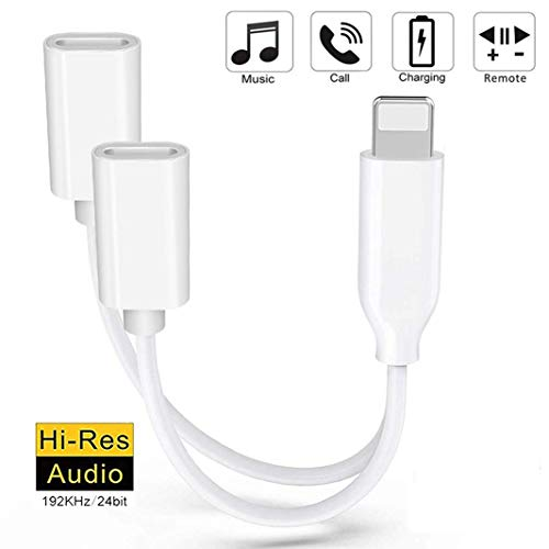 Headphones Adapter 2 in 1 Double for iPhone Adapter Headphone Jack Adapter Converter for iPhone /7/8/X/XR/XS Splitter Dual AUX Audio Cable Support Charge Control Phone Call Support All iOS