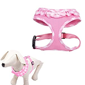 Checkered Frills Fashion Puppy Harness for Pets Dog & Cat, Pink Extra Small