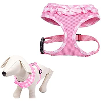 EXPAWLORER Checkered Frills Fashion Puppy Harness for Pets Dog & Cat, Pink Medium