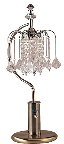 ORE International 715AB 27-Inch Height Antique Brass Table Lamp with Crystal-Inspired Shade ()