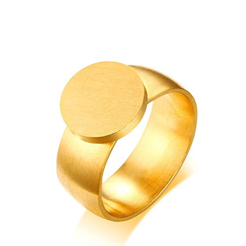 Beydodo Womens Rings, Stainless Steel Signet Rings Gold Plated Brush-finished Round Ring for Men Size 7 by Beydodo