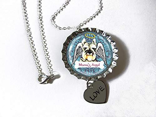 (Schnauzer Dog Silvertone Bottlecap Pendant Necklace with Heart Charm as a CUSTOM JEWELRY OF YOUR PET)