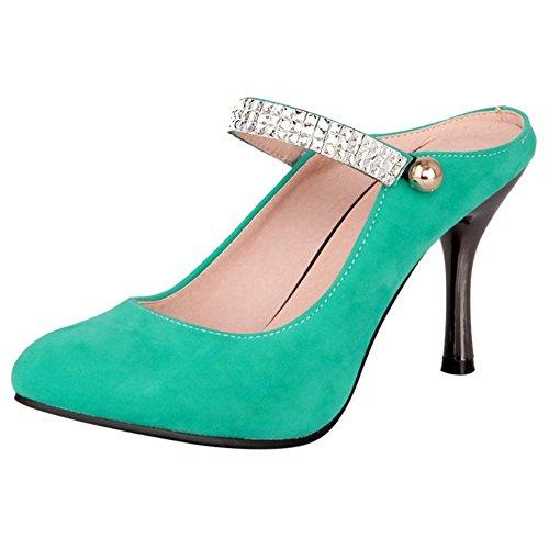 TAOFFEN Women's Fashion Stiletto Mules Pumps Shoes Green N4kmT0Ef3