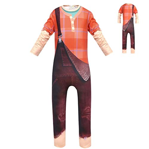 (Joyfunny Wreck It Ralph Jumpsuit Vanellope Von Schweetz Dress Up Costume Kids Boys Girls)