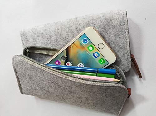 2 Packs-High Grade Wool Felt of Makeup Bag Cosmetic Bag Pencil Bag Pen Case Pencil Case Pencil Pouch Zipper Bag for iPhone,Cellphone,Pens, Pencils, Highlighters, Gel Pen, Marker Cases (Grey-White)