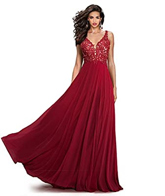 Gorgeous V-Neck Lace-Applique Open V-back Formal Evening Homecoming Prom Ballroom Dresses Long