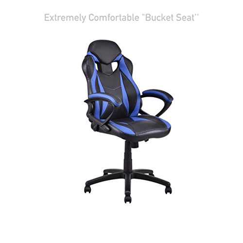 Executive Race Car Style High Back Gaming Computer Chairs Comfortable Bucket Seat Swivel Desk Task Adjustable Height Posture Back Support Home Office Furniture #1568blue (Best 2014 Weight Scales)