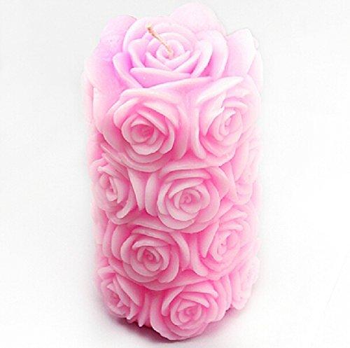 Vancgoods Big Rose Cylinder Candle Molds Flexible Wedding Cake Decorating Craft Fimo DIY Candle Silicone Mold (Fimo Rose)