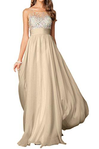 Linie Elegant Champagner A Abendkleid Rundkragen Damen Ivydressing Promkleid Steine Festkleid Lang amp;Tuell Chiffon Aq8nwS5C