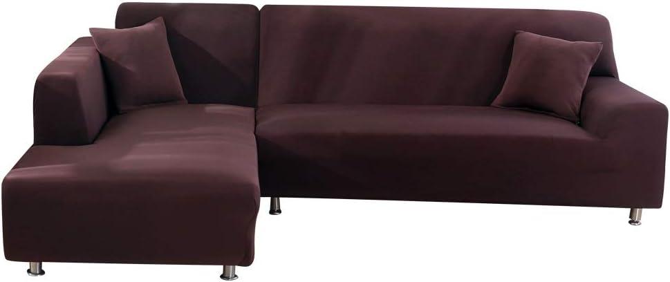Oferta amazon: SearchI Fundas Sofa Elasticas Chaise Longue,Extraíbles y Lavables,Moderno Cubre Sofa Chaise Longue Universal Fundas Protectora para Sofa contra Polvo en Forma de L 2 Piezas(Cafe,2 Plazas+3 Plazas)