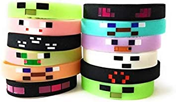 Amazon.com: Pulseras de Mining Pixelated GLOW IN THE DARK ...