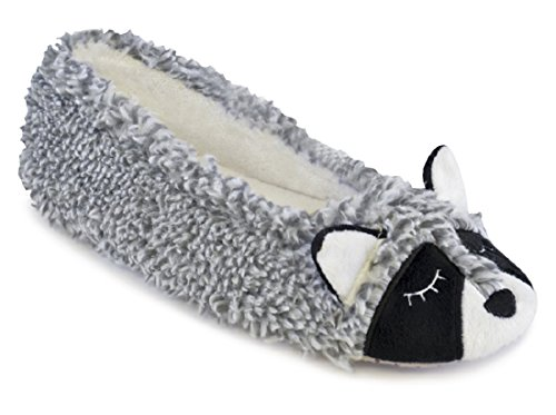 Ballet Raccoon Grey Novelty Slippers Ladies Warm Lined IPxg0R