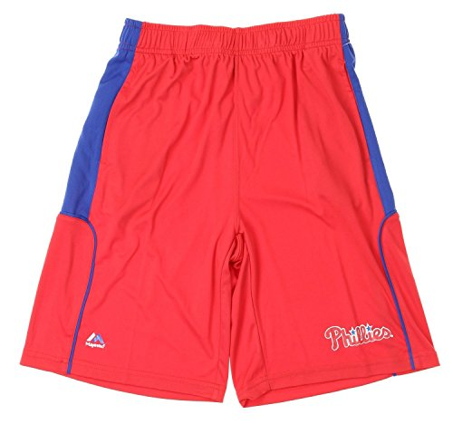 Majestic MLB Philadelphia Phillies Big Boys Youth Batters Choice Shorts, Red (Small (8))