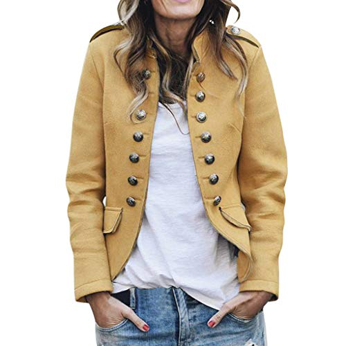 JESPER Womens Retro Stand Collar Short Blazer Coat Casual Button Decor Bomber Jacket Outwear with Pockets - Blazer Jacket Striped