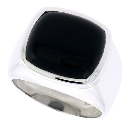 (Sterling Silver Gents' Ring w/ a Square-shaped Jet Stone, 5/8