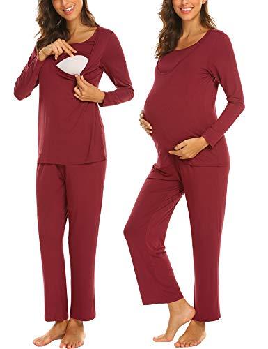 MAXMODA Maternity Pajama Pants Womens Nursing Sleepwear Pajamas Set 3/4 Sleeve...