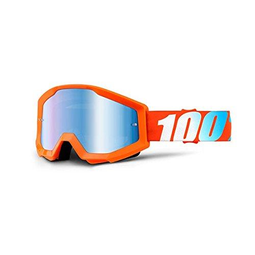 100% STRATA Goggles Orange - Mirror Blue Lens, One - Mountain For Biking Goggles