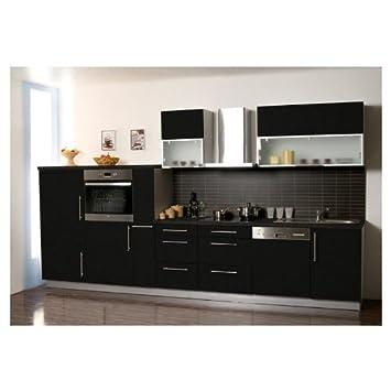 Einbauküche schwarz hochglanz  Küche Küchenzeile Küchenblock 370 cm Schwarz Hochglanz Kühlschrank ...