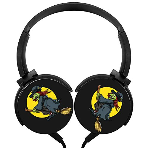 POJIA Witch Riding Broom Spooky Wired Headphone Stereo Subwoofer Headset On-Ear Earphone Earpiece with -