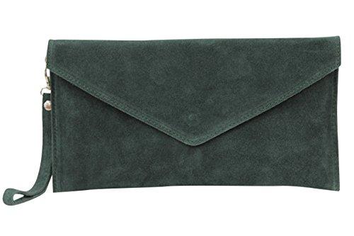 velouté Dragonne Ambra pour Moda foncé avec en vert daim WL801 Pochette Femme Modèle Wqq61w8ZY