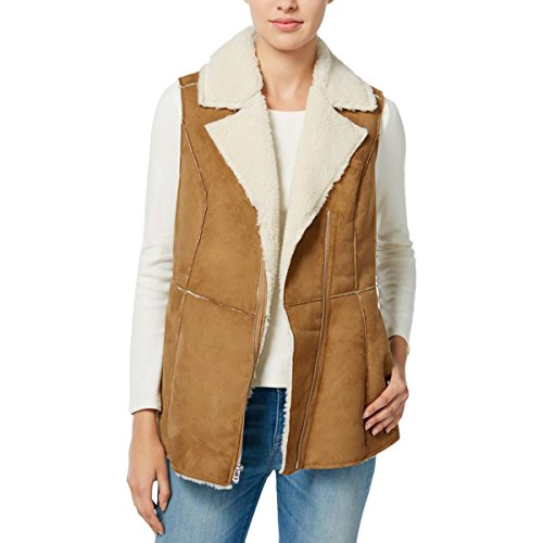 Wildflower Women's Faux-Shearling Moto Vest (Large, Brown) (Faux Shearling Hipster)