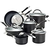 Circulon 87376 Symmetry Hard Anodized Nonstick Cookware Pots and Pans Set, 11-Piece, Black