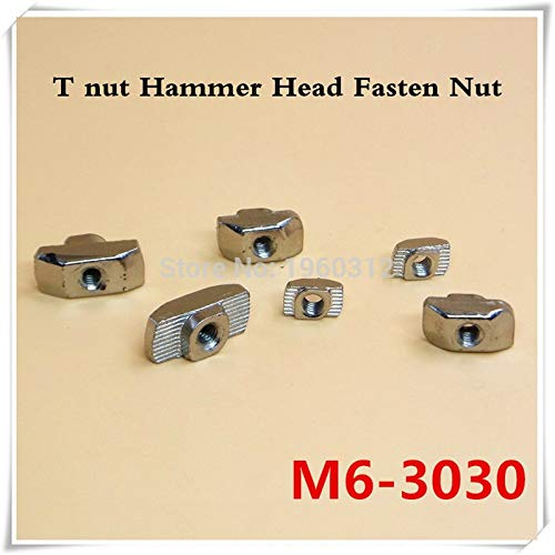 Nuts 100pcs T nut Hammer Head Fasten T Sliding Nut M6 Connector Nickel Plated for 3030 Series