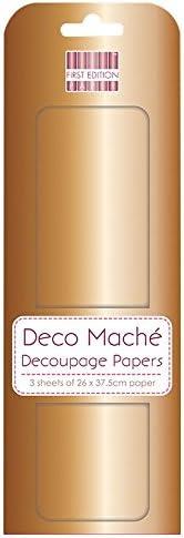 3 Sheets, 22gsm 10x0.5x30 cm FIRST EDITION Deco Mache Decoupage Craft Papers-Metallic Antique 26 x 37.5 cm,