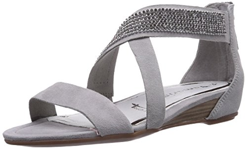 Tamaris 28119 - Sandalias de vestir de cuero para mujer gris - Grau (Quartz 201)