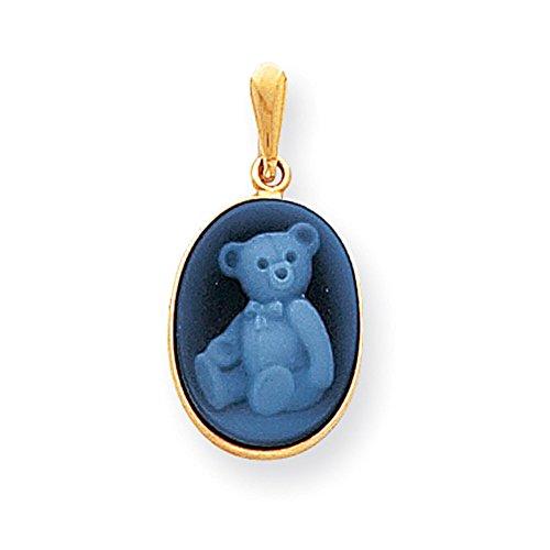 14k Yellow Gold 12x16 Teddy Bear Agate Cameo Pendant - Agate Bear Teddy