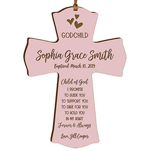 "(LifeSong Milestones Personalized Date of Baptism Gifts for Baby Boys and Girls Christening Wall Cross Gift for Godchild Godson Goddaughter for First Holy Communion 4""x 6"" I Promise (Pink))"