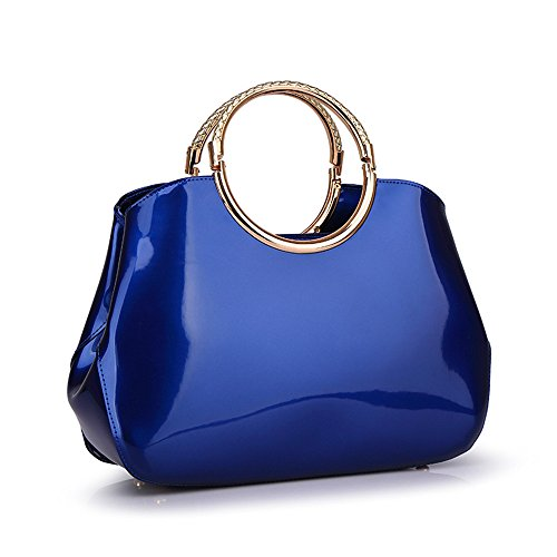 Patent Leather Like Handbag (Mn&Sue Lady Boutique Bright Color Classy Shine Patent Leather Top Handle Purse Evening Handbag for Women)