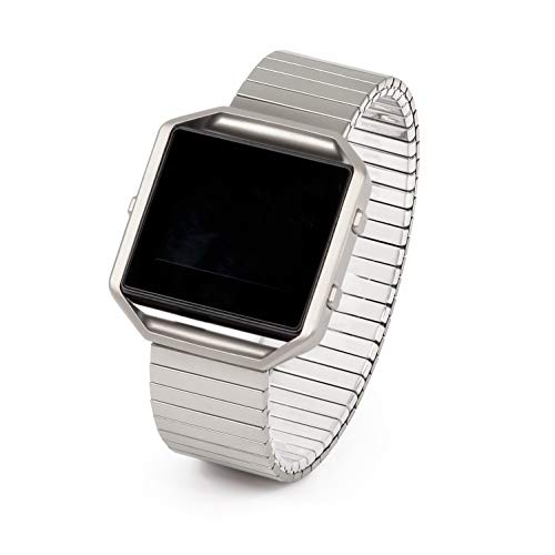 Twist-O-Flex Metal Expansion Brushed Stainless Steel Stretch Band Replacement for The Fitbit Blaze in a Size M by Speidel