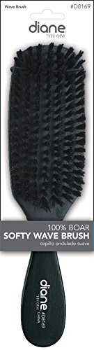 Price comparison product image Diane #8169 100% Boar Softy Wave Brush, boar bristles, reinforced bristles, thick hair, long hair, short hair, all hair types, men and women, adults and kids, wood handle