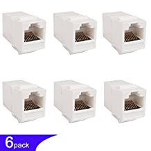 Ethernet Adapter RJ45 Keystone Double Female CAT6 Connector Passthrough Cable Coupler Internet Crossover Network Inline Extender Backward Compatility Cat5e/5 8P8C (White 6-Pack)