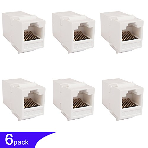 5 Cat 6 5e 5 Network Cable Extender Double Female Snap-in Connector In-line Ethernet Adapter White 6pk (Coupler Keystone Insert Module)