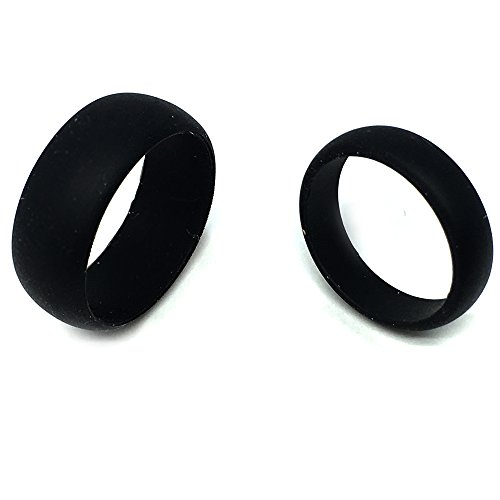 SAR- SAFE ACTIVE RINGS – Wedding Band Ring Set For Him & Her 8MM/6MM Black Flexible Silicon Design