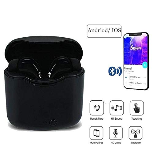 Susens Bluetooth Headphones, Mini Wireless Earbuds with Mic, Stereo Noise Cancelling in-Ear Earphones with Charging Case for iPhone, iPad, Samsung, PC (Black)