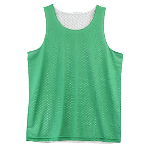 - Reversible Basketball Jerseys Pinnies for Men and Youth (Green/White, Youth Large or Adult X-Small)