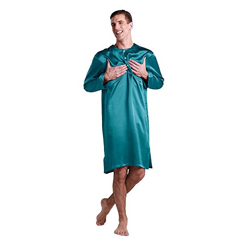 LilySilk Silk Nightshirts For Men Charmeuse Long Sleeve 22 Momme Pure 100 Mulberry Silk Robe Soft Dark Teal X-Large by LilySilk (Image #3)