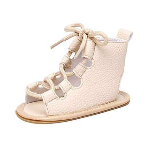 Leder Bandage Cross-gebundene Sandalen - Casual weiche Sohle - Krippe Hollow prewalker - Sommer Anti-Rutsch-Schuhe flache Schuhe Beige