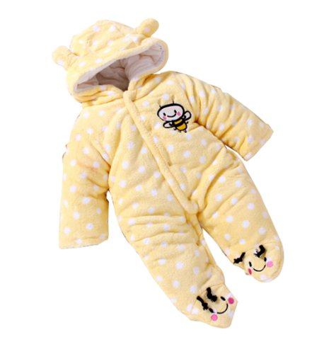 Baby Toddler Velour Winter Jumpsuit Front Button 61(Yellow,3-6 Months)