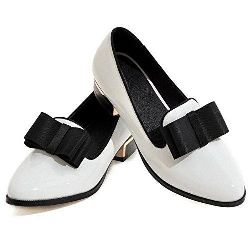 TAOFFEN Femmes Mode Talons Bas a Enfiler Escarpins Bowknot White Size 34 Asian