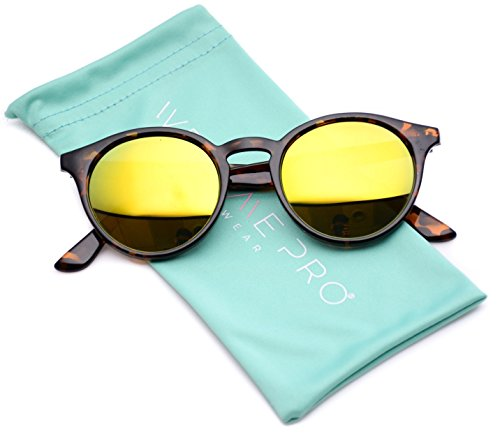 WearMe Pro - Classic Small Round Retro Sunglasses (Tortoise Frame / Mirror Yellow, 53)