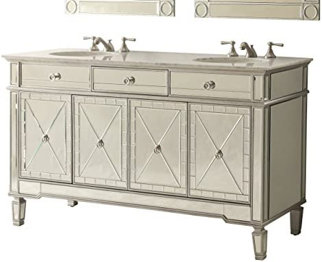 60″ Mirror Reflection Double Sink Ashlia Bathroom Sink Vanity Model 7332Q60