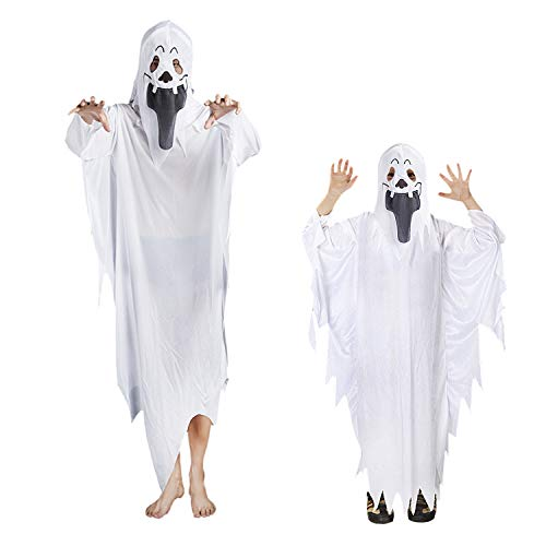 Halloween Ghost Costume Robe Scary Face Mask Hooded Dress up Witch Cape -